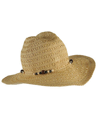 bead trim straw hat.